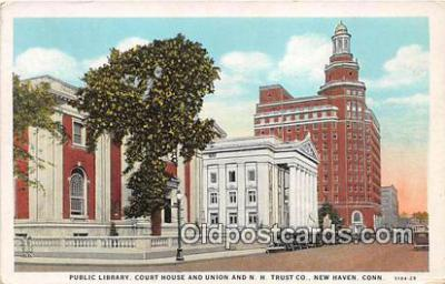bnk001133 - Public Library, Union & NH Trust Co New Haven, Connecticut, USA Postcard Post Card