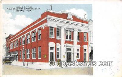 bnk001171 - Home of the New Security Savings Bank Boone, Iowa, USA Postcard Post Card