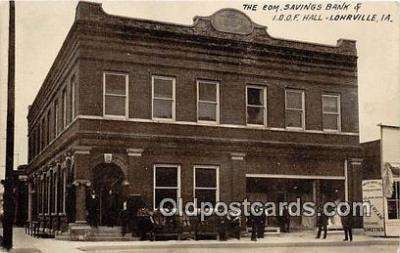 bnk001199 - Com Savings Bank & IOOF Hall Lohrville, Iowa, USA Postcard Post Card