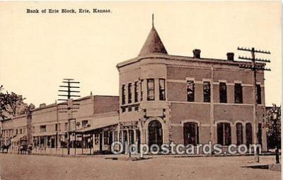 bnk001214 - Bank of Erie Block Erie, Kansas, USA Postcard Post Card