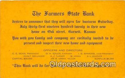bnk001217 - Farmers State Bank Barnett, Kansas, USA Postcard Post Card