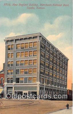 bnk001224 - New England Building, Merchants National Bank Topeka, Kansas, USA Postcard Post Card