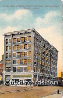 bnk001227 - New England Building, Merchants National Bank Topeka, Kansas, USA Postcard Post Card