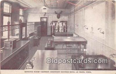 bnk001235 - Banking Room, German American Savings Bank Le Mars, Iowa, USA Postcard Post Card