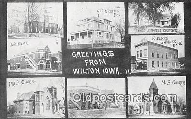 bnk001238 - Union Bank, Farmers Savings Bank Wilton, Iowa, USA Postcard Post Card