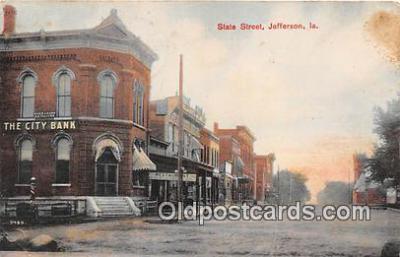 bnk001245 - City Bank, State Street Jefferson, Iowa, USA Postcard Post Card