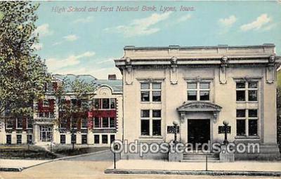 bnk001258 - High School & First National Bank Lions, Iowa, USA Postcard Post Card