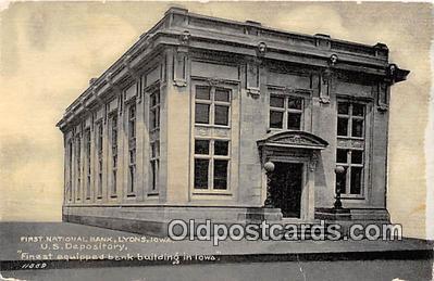 bnk001281 - First National Bank Lyons, Iowa, USA Postcard Post Card