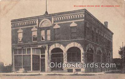 bnk001285 - Williamsburg Savings Bank Williamsburg, Iowa, USA Postcard Post Card