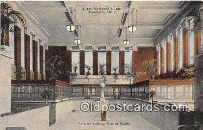 bnk001326 - First National Bank, Interior Toward Vaults Mankato, Minn, USA Postcard Post Card