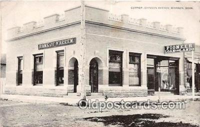 bnk001345 - Pioneer Loan & Land Co, Bank of Warren Warren, Minn, USA Postcard Post Card