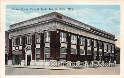 bnk001364 - United States National Bank Iron Mountain, Mich, USA Postcard Post Card