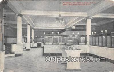 bnk001366 - Interior, Farmers & Merchants Bank Benton Harbor, Mich, USA Postcard Post Card