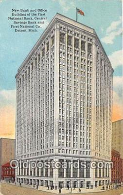 bnk001378 - New Bank & Office Building of the First National Bank Detroit, Mich, USA Postcard Post Card