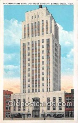 bnk001381 - Old Merchants Bank & Trust Company Battle Creek, Michigan, USA Postcard Post Card