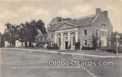 bnk001389 - First National Bank & Jones Library Amherst, Mass, USA Postcard Post Card