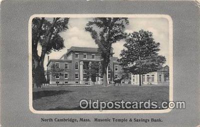 bnk001392 - Masonic Temple & Savings Bank North Cambridge, Mass, USA Postcard Post Card