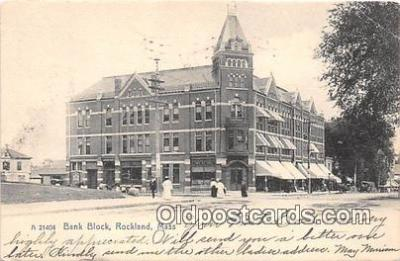 bnk001393 - Bank Block Rockland, Mass, USA Postcard Post Card