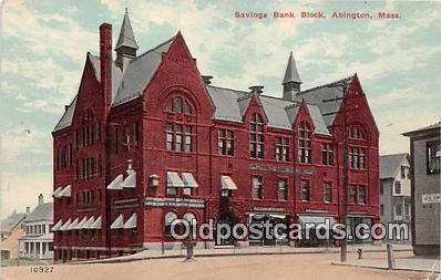 bnk001400 - Savings Bank Block Abington, Mass, USA Postcard Post Card