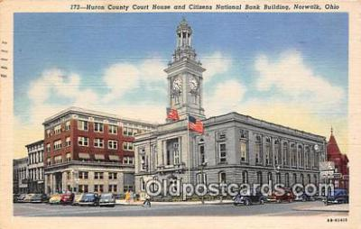 bnk001410 - Huron County Court House & Citizens National Bank Norwalk, Ohio, USA Postcard Post Card
