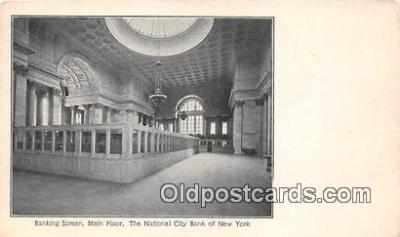 bnk001456 - Banking Screen, Main Floor, National City Bank of New York New York, USA Postcard Post Card