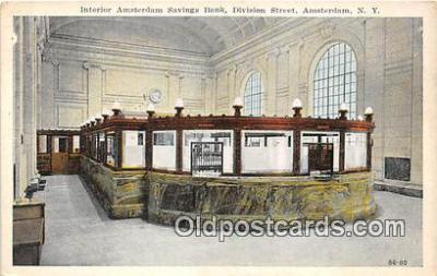 bnk001466 - Interior Amsterdam Savings Bank Amsterdam, NY, USA Postcard Post Card