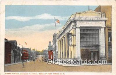 bnk001469 - Sussex Street, National Bank of Port Jervis Port Jervis, NY, USA Postcard Post Card