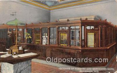 bnk001513 - Interior, Farmers & Merchants Bank Jefferson, Wis, USA Postcard Post Card