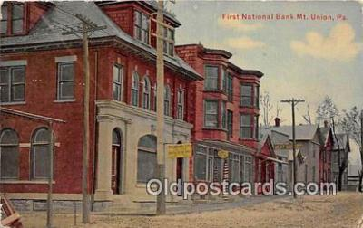 bnk001541 - First National Bank Mt Union, PA, USA Postcard Post Card