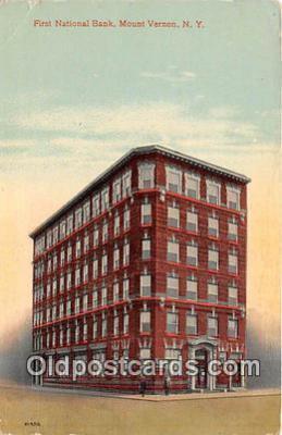 bnk001563 - First National Bank Mount Vernon, NY, USA Postcard Post Card