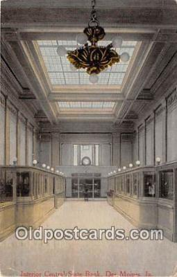bnk001599 - Interior Central State Bank Des Moines, Iowa, USA Postcard Post Card