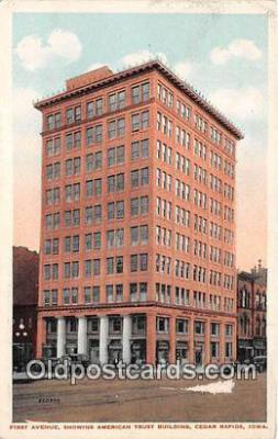 bnk001604 - First Avenue, American Trust Building Cedar Rapids, Iowa, USA Postcard Post Card