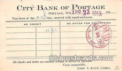 bnk001638 - City Bank of Portage, Marshall & Nsley Bank Milwaukee, Wis, USA Postcard Post Card