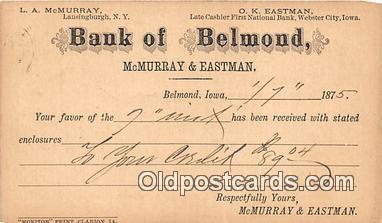 bnk001639 - Bank of Belmond Postal Used 1875 Postcard Post Card