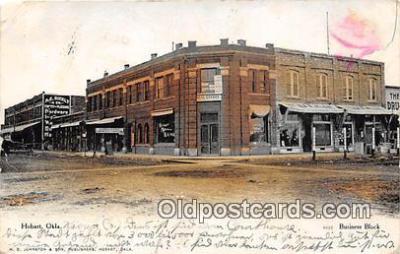 bnk001646 - Business Block Hobart, Oklahoma, USA Postcard Post Card