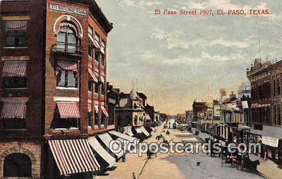 bnk001661 - El Paso Street 1907 El Paso, Texas, USA Postcard Post Card
