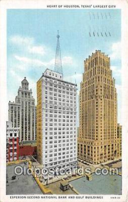 bnk001663 - Esperson Second National Bank & Gulf Buildings Houston, Texas, USA Postcard Post Card