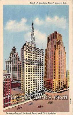 bnk001667 - Esperson Second National Bank & Gulf Buildings Houston, Texas, USA Postcard Post Card