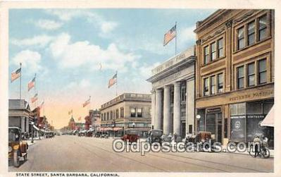 bnk001704 - State Street, First National Bank Santa Barbara, CA, USA Postcard Post Card