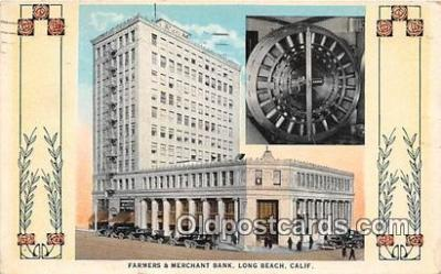 bnk001707 - Farmers & Merchant Bank Long Beach, California, USA Postcard Post Card