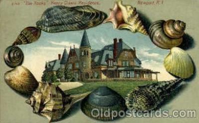 bor001002 - S 143 The Rocks, Henry Clews Residence Newport, RI USA, Shell Border Postcard Post Card