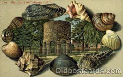 bor001005 - S 146 Old Stone Mill Newport, RI USA, Shell Border Postcard Post Card