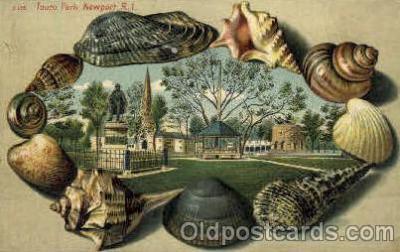 bor001007 - S 136 Touro Park,  Newport, RI USA, Shell Border Postcard Post Card