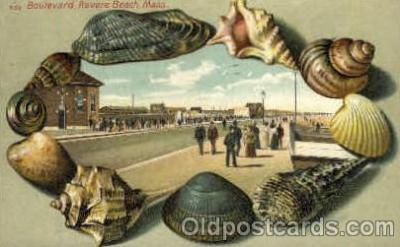 bor001010 - S 53 Boulevard Revere Beach, Mass, USA, Shell Border Postcard Post Card