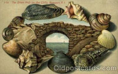 bor001011 - S142, The stone Arch on the Cliffs, Newport, RI USA, Shell Border Postcard Post Card