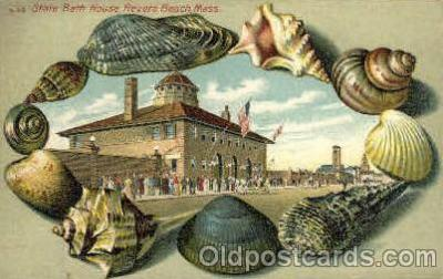bor001014 - S 50 State Bath House Revere Beach, Mass, USA, Shell Border Postcard Post Card