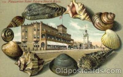bor001018 - S 51 Pleasonton Hotel, Revere Beach, Mass, USA, Shell Border Postcard Post Card
