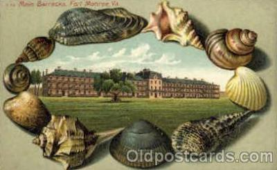 bor001019 - S 45 Main Barracks, Fort Monroe, VA USA, Shell Border Postcard Post Card