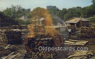 bre001204 - Making Charcoal at Jack Daniel's  Postcard Post Cards Old Vintage Antique