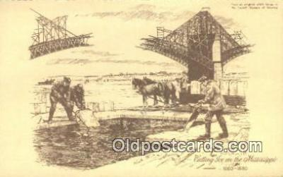 bre001241 - Cutting Ice Mississippi, USA Postcard Post Cards Old Vintage Antique